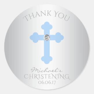Sticker Rond Merci de baptême croisé de bleus layette/garçon de
