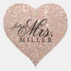 Sticker - Rose Gold Glitter Heart Fab future Mrs.