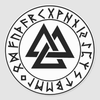 sticker round Tri-Triangle Rune Shield