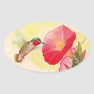Sticker Ruby Throated Hummingbird @ Flowers Garden