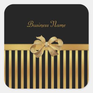 Sticker Square Gold Black Stripe Gold Bow