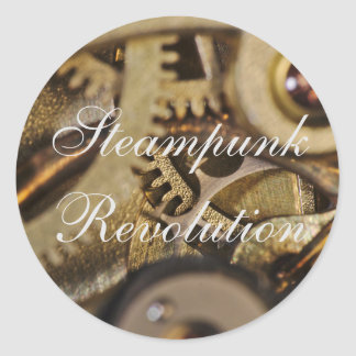 Sticker: Steampunk Revolution. Watch Mechanism Classic Round Sticker
