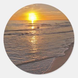 Sticker: Sunset by the Beach Classic Round Sticker
