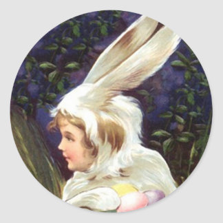 Sticker Sweet Antique child Easter bunny Costume