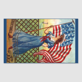 Sticker Vintage 4th of July Greeting USA Flag Wave