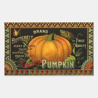 Sticker Vintage Butterfly Brand Pumpkin Can-Label
