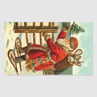 Sticker Vintage Christmas Santa On Snowshoes Gift