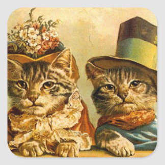 Sticker Vintage Dressed Cat Couple On-the-town