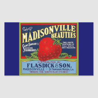 Sticker Vintage Madisonville LA Strawberry Advert