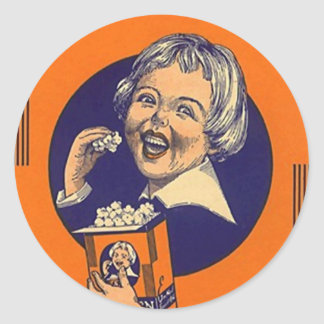 Sticker Vintage Popcorn Advertising Retro Girl Hap