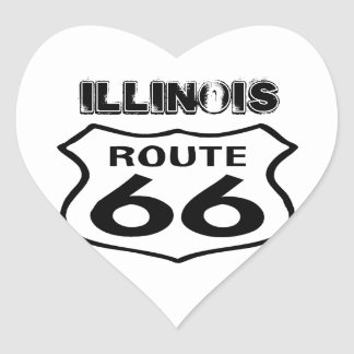 Sticker Vintage Route 66 Worn State Illinois Heart