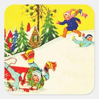 Sticker Vintage Snow Winter Holiday Fun Sledding