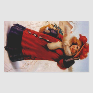 Sticker Vintage Victorian Fashions Christmas Visit