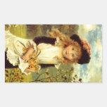 Sticker Vintage Victorian Pinafore Daffodils Jonqu