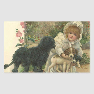 Sticker Vintage Victorian Rescues Strays Dogs Pups