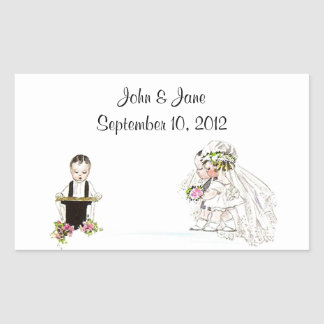Sticker Vintage Wedding Bride Groom Church Service