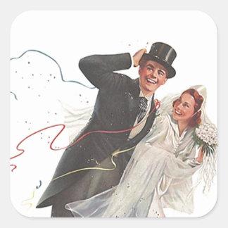 Sticker Vintage Wedding Bride Groom Happy Couple