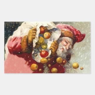 Sticker Vintage Woodland Santa Apples Sack Snowing