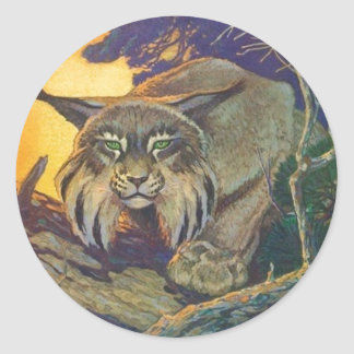 Sticker Wildlife Bobcat Cat Hunt Twilight Sundown
