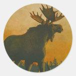 Sticker Wildlife Bull Moose @ Twilight Sundown