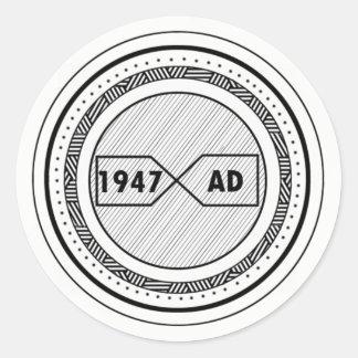 Sticker with a 1947 AD logo