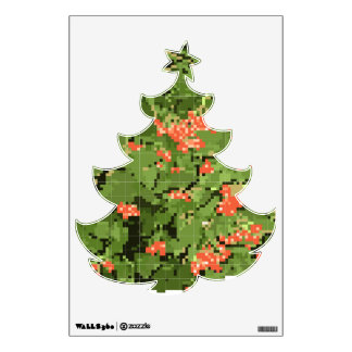 Sticker with a picture of a viburnum on a herringb