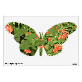 Sticker with a viburnum on a butterfly