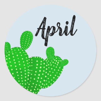Sticker with cactus for April
