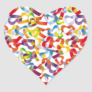 Sticker with decorative seamless with 3D hearts