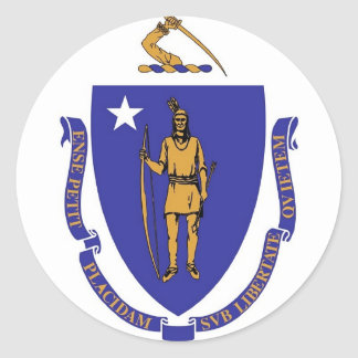 Sticker with Flag of Massachusetts