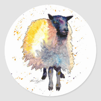 Sticker with handpainted sheep