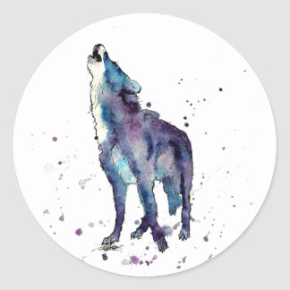 Sticker with howling wolf