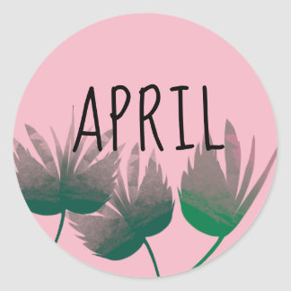 Sticker with leaves for April