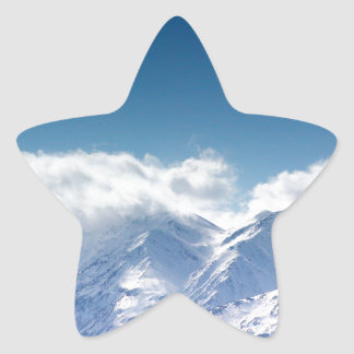 Sticker with photo of snowy mountaintop