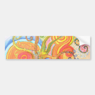 Sticker with Psychedelic Colourful Tree Design Bumper Sticker