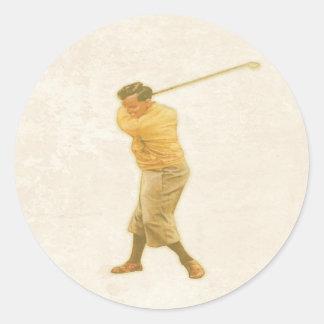 Sticker with Vintage Golf Player