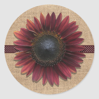 Stickers - Burlap and Bordeaux Sunflower