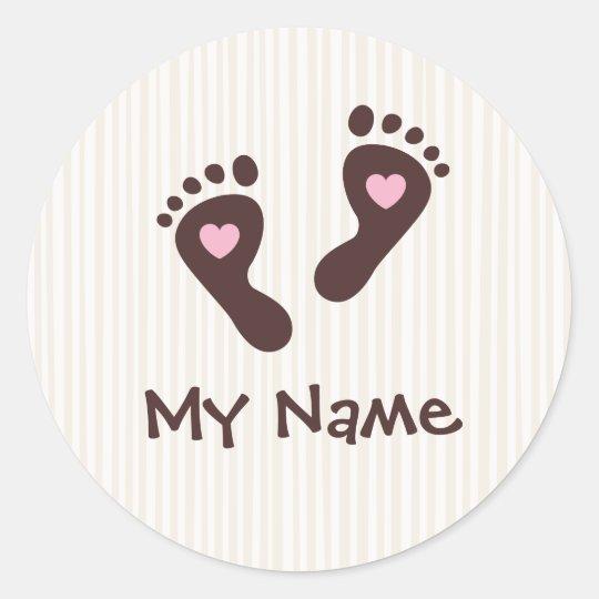Stickers: chocolate baby girl footprints classic round sticker