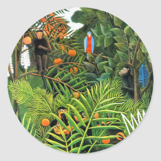 Stickers: Exotic Landscape (Paysage Exotique) Classic Round Sticker