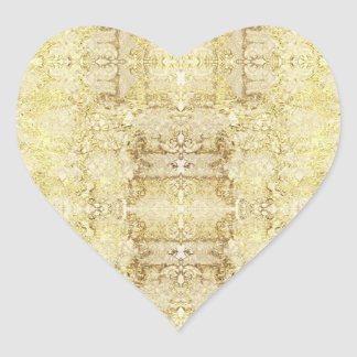 stickers heart flowers gold