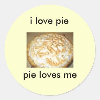 stickers, i love pie, pie loves me classic round sticker