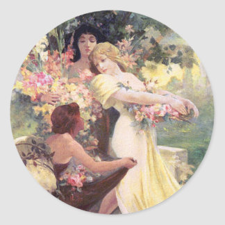Stickers:  Mucha - Spirit of Spring Classic Round Sticker