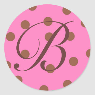 Stickers Pink Brown Monogram B - Customized