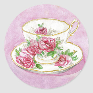 Stickers - Pink Rose Floral Teacup & Saucer
