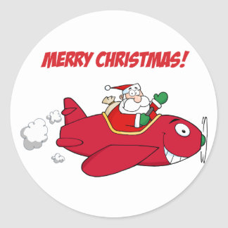 Stickers--Santa in Plane Classic Round Sticker