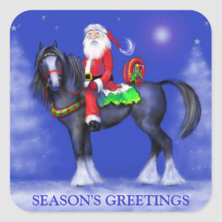 Stickers - Santa on Horseback - Blue Winter