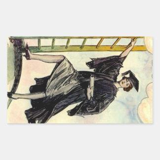 STICKERS Vintage Graduation Lady Climbing Ladder