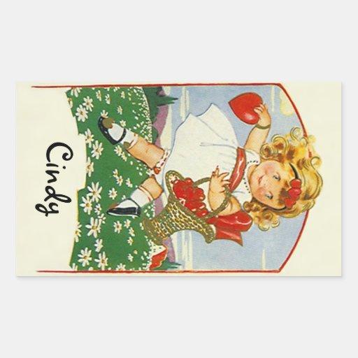 STICKERS Vintage Scrapbooking Cute Valentine Girl