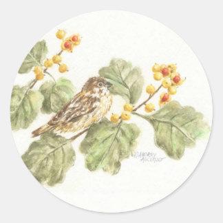 Stickers  Watercolor Bird on Autumn Branch Round