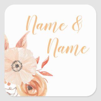 Stickers Wedding Labels Autumn Fall Auburn Flowers